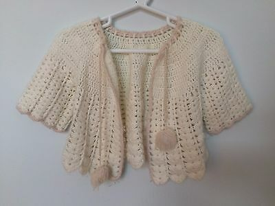 Vintage 1970s Infant Girl Knitted White Sweater with Pink Trim and Tassels