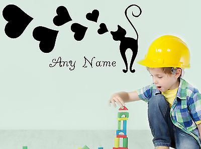 Personalised Cat Dreamer Any Name Vinyl Wall Sticker Decal Kids Bedroom Decor