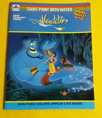 1993 Disney ALADDIN Giant Paint With Water Children's Coloring Book from Golden