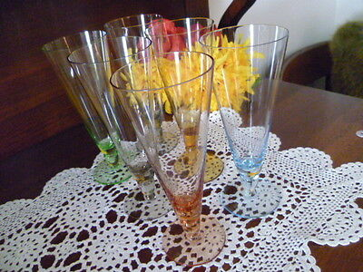 RETRO SET OF 6 x HARLEQUIN Colored TALL  DRINK / FLUTES  Glasses