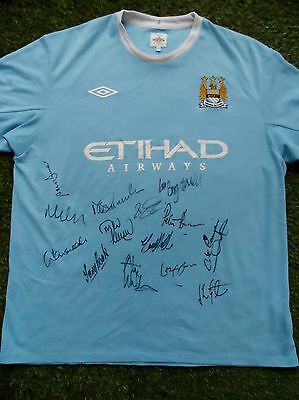 MANCHESTER CITY Hand Signed Legends Shirt - 14 Autographs - Goater, Book - COA