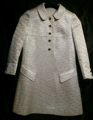 Beautiful, rare 1960s heavy ivory satin and silver embroidered evening coat. VGC