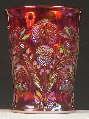 Mosser Red Carnival Glass Inverted Thistle Tumbler
