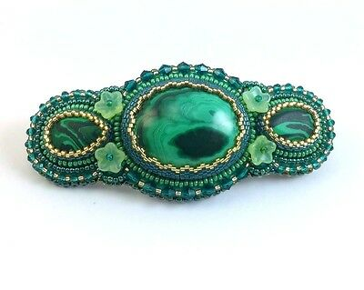 Bead Embroidery Hair Barrette with Natural Malachite