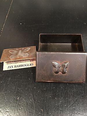 JAN BARBOGLIO Butterfly Metalware Hand Made Collectible Artisan GIVING BOX MINT