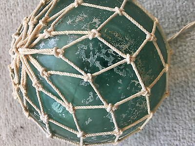 Vintage Cloudy Green Glass Fishing Float with Light Net 19 Inch Circumf 6 In Dia