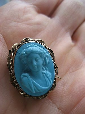 Antique Victorian Molded Turquoise Glass Tassie  9 k gold mount - Rare piece!