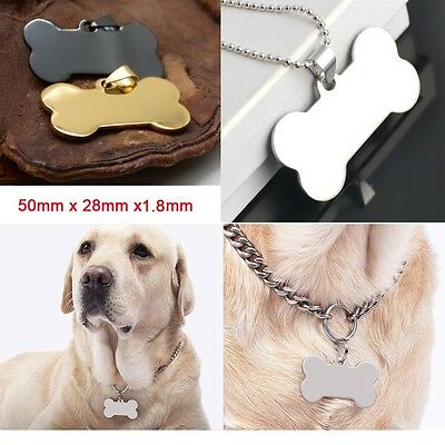 Double Sided Pet ID Tags stainless steel Dog tag Cat Name Tags Bone