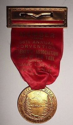 Vtg 1938 FIREMANS ASSOCIATION Convention BADGE Saranac Lake STATE OF NEW YORK