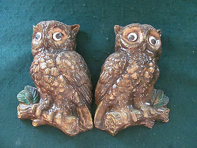 Pair Of 70's Cute Ceramic Owl Wall Art Plaques W Attached Hangers