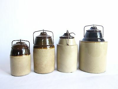 Antique Pottery Earthenware Country Kitchen Storage Jars Containers by The Weir