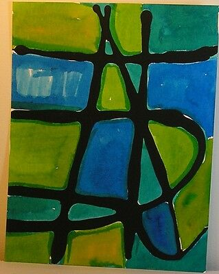 Set of 8 Urban Contemporary Abstract Blue Green Original Paintings Modern OOAK