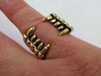 New Bronze Vampire Fang Ring Sz 8 Pagan Occult Alchemy Goth Steam Punk Wicca