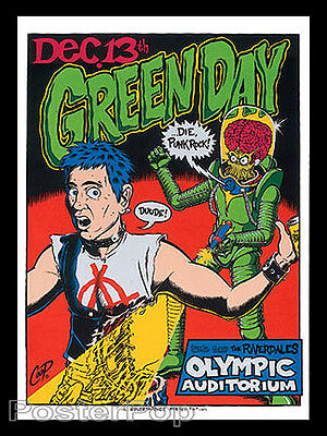 Coop Green Day Silkscreen Concert Poster 1995 Signed Numbered Punk Rock Mint