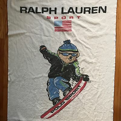 90's Vintage Polo Sport Ralph Lauren Frank Bear Towel Made In The USA