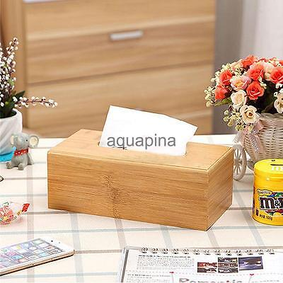 Durable Home Car Rectangle Wooden Tissue Box Cover Napkin Paper Holder Case