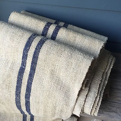 1 Yard THICK Antique Grain grainsack fabric linen hemp heavy. Multiple Yardage