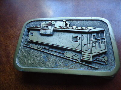 Brass Beltbuckle with Railroad Caboose