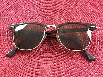 Vintage Ray Ban Bausch & Lomb Clubmaster W0366 Brown Tortuga Frame U.S.A Glasses