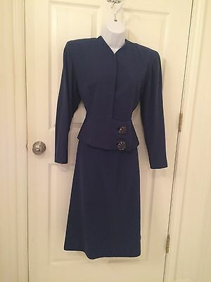 VIntage 1940's wool suit with asymetrical blue bead buttons