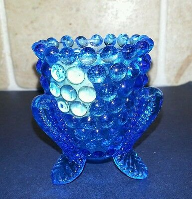 Vintage Blue Kanawha Strawberry pattern toothpick holder