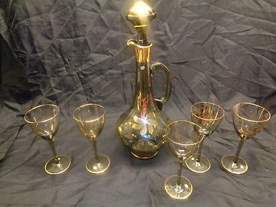 Gold Gilded Ornate Hand Painted Wine Decanter With Lid & 5 Footed Glasses