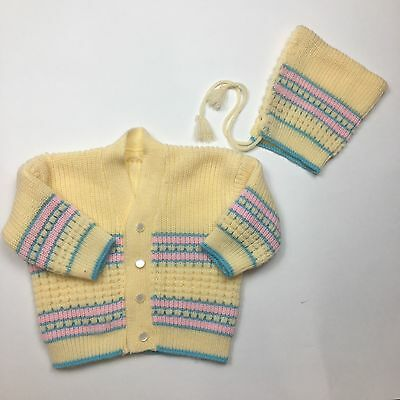 Vintage Yellow Sweater And Pixie Bonnet 6/12m