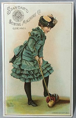 1880s STANDARD SEWING MACHINE Victorian Advertising TRADE CARD Croquet