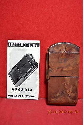 Vintage Arcadia Commander Folding Pocket Viewer With Original Box & Instructions