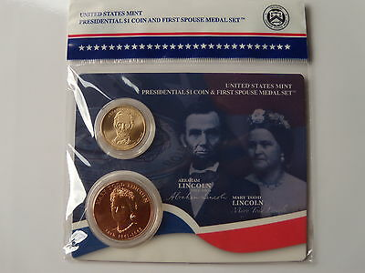 2010 Presidential Dollar Coin & First Spouse Medal Set - Abraham Lincoln **xr4**