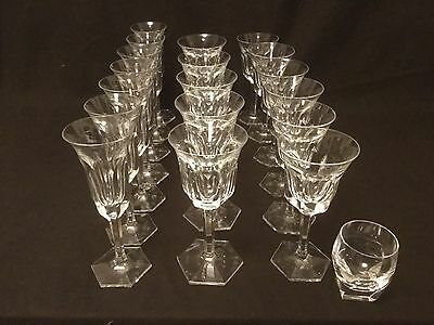 Set Of 19 Moser Czech Crystal Champagne Water Wine Tumber Glasses Pope As Is