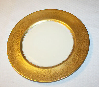 """Two Heinrich & Co. Selb Bavaria Pickard 22k Gold Encrusted Plates 11"""" Germany"""