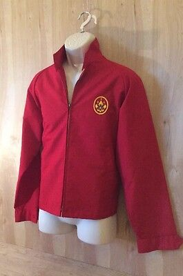 VINTAGE OFFICIAL BOY SCOUTS OF AMERICA Red Zip Front Jacket Men's L 42-44
