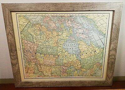 "VINTAGE (authentic) ""DOMINION OF CANADA"" MAP *1902* w/ NEWFOUNDLAND MAP - FRAMED"
