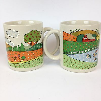 Set 2 Psychedelic Farm Coffee Mugs Made in Japan Colorful Trippy Fun Vintage 70s