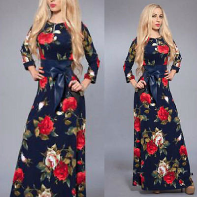 Womens Boho Dress Floral Vintage Evening Cocktail Party Maxi Dress 8/10 New