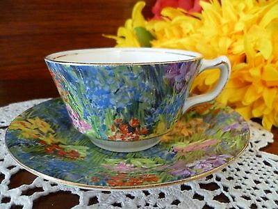 Rare Mayflower Royal Staffordshire Wilkinson Chintz All Over Floral Cup & Saucer