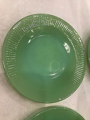 SALE!! Three SUPER RARE Fire-King Jane Ray Bread & Butter Plates Jadeite 6 1/4""