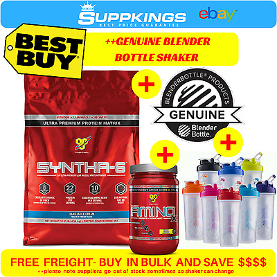BSN Syntha 6 | 4.5kg 10lbs | WPI/ WPC Blend //Protein Powder + Amino X 30 Serve