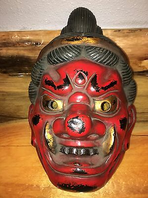 Vintage Old Japanese Noh Theater Polychrome Mask Signed