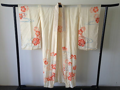 Vintage Antique Fine Silk Floral Japanese Kimono Hand Made One of a Kind