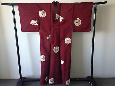 Women's Japanese Red Wine embroidered Kimono Hand Made One of a Kind Silk