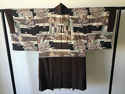 Men's Japanese Haori Jacket Silk  Hand Made One of a Kind Cranes Blossoms Sale