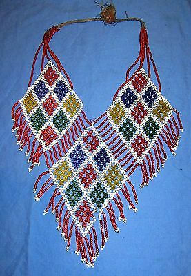 """Necklace Beaded Afghan Kuchi Tribal 18"""" with ties"""