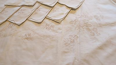 Antique Embroidered  Tablecloth with 8 Napkins 205x175