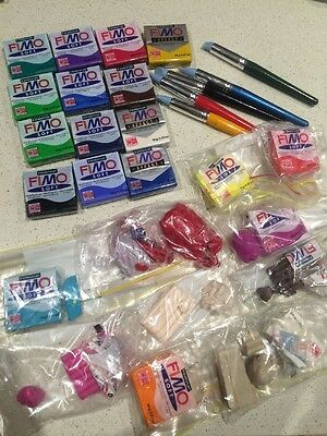 Bulk Lot (20+ Pieces) Range Of Colours Fimo Soft Modelling Clay With Utensils