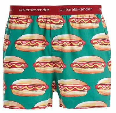 PETER ALEXANDER PJS Mens Boxer Shorts HOT DOGS FOODIE Sz S/M/L/XL BNWT Cotton PJ