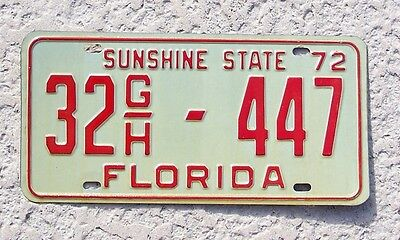 1972 Florida License Plate truck tag