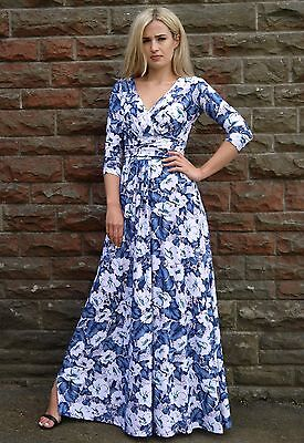 Long Summer Wedding Party Dress Day Evening Floral Maxi White Blue Maternity UK