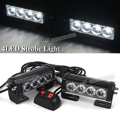 Pair 12V 4 LED Bar Car Truck Flash Emergency Grille Light Recovery Strobe White